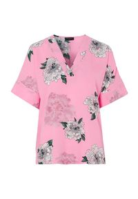 Różowa bluzka Freequent z aplikacjami, z krótkim rękawem, z dekoltem w serek