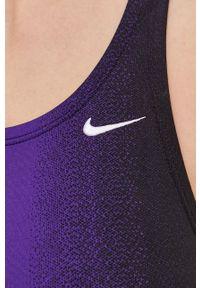 Nike - Strój kąpielowy. Kolor: fioletowy. Materiał: dzianina