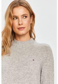Szary sweter TOMMY HILFIGER z długim rękawem, długi, casualowy, na co dzień