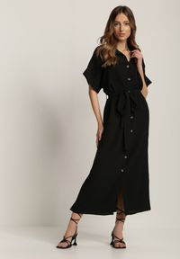 Renee - Czarna Sukienka Acsethia. Kolor: czarny. Materiał: materiał. Typ sukienki: koszulowe. Styl: klasyczny, retro. Długość: midi