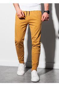 Ombre Clothing - Spodnie męskie dresowe joggery P952 - musztardowe - XXL. Kolor: żółty. Materiał: dresówka #4