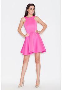 Różowa sukienka letnia Katrus bez rękawów