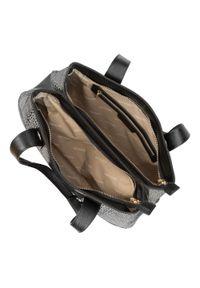 Czarna torebka klasyczna Wittchen z motywem zwierzęcym, lakierowana
