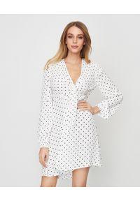 Biała sukienka mini Pinko w grochy, biznesowa, na spotkanie biznesowe, na lato