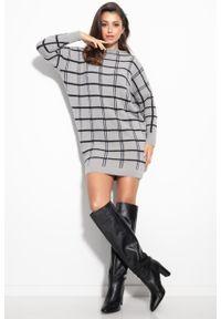 e-margeritka - Sukienka swetrowa ciepła w kratę szara - l/xl. Kolor: szary. Materiał: nylon, wiskoza, materiał, elastan, poliamid. Typ sukienki: oversize