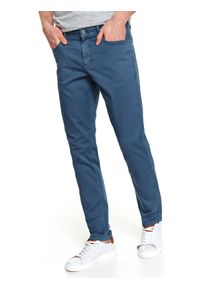Niebieskie spodnie TOP SECRET w kolorowe wzory, casualowe, na jesień