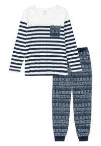 Piżama, bawełna organiczna bonprix ciemnoniebiesko-biel wełny w paski