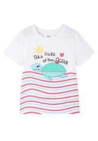Shirt dziewczęcy z bawełny organicznej bonprix biały. Kolor: biały. Materiał: bawełna. Wzór: nadruk