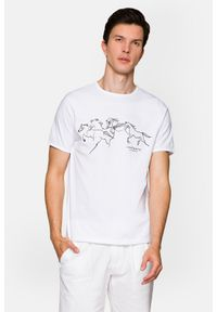 Lancerto - Koszulka Biała Alfred. Okazja: na co dzień. Kolor: biały. Materiał: włókno, materiał, bawełna. Wzór: napisy, nadruk. Styl: klasyczny, elegancki, casual