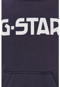G-Star RAW - G-Star Raw - Bluza. Okazja: na co dzień. Typ kołnierza: kaptur. Kolor: niebieski. Materiał: dzianina, poliester. Wzór: aplikacja. Styl: casual