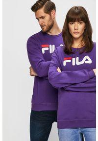 Fioletowa bluza nierozpinana Fila na co dzień, z nadrukiem, casualowa, bez kaptura