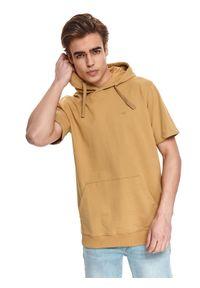 Brązowa bluza TOP SECRET krótka, z kapturem, z krótkim rękawem