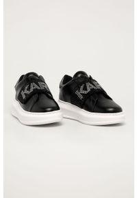 Czarne buty sportowe Karl Lagerfeld z okrągłym noskiem, z cholewką