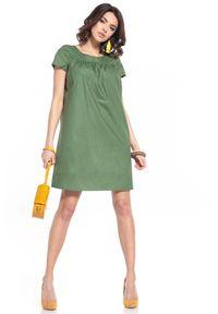 Tessita - Luźna Sukienka z Krótkim Rękawem - Zielona. Kolor: zielony. Materiał: bawełna. Długość rękawa: krótki rękaw