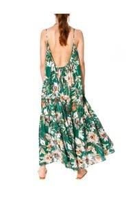 AGGI - Luźna sukienka w kwiaty Lea Summer. Kolor: biały. Materiał: bawełna, tkanina, jedwab. Długość rękawa: na ramiączkach. Wzór: kwiaty. Typ sukienki: oversize. Styl: boho. Długość: maxi