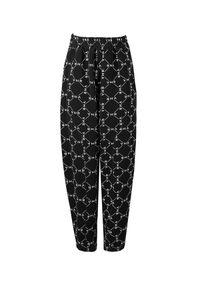 VICHER - Czarne spodnie z monogramem WABI SABI. Stan: podwyższony. Kolor: czarny. Materiał: dresówka, dzianina. Wzór: aplikacja