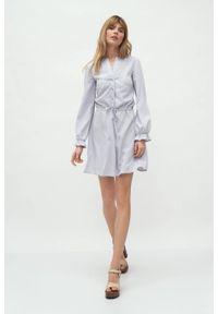 Nife - Szara wiskozowa koszulowa sukienka wiązana w talii. Okazja: do pracy. Kolor: szary. Materiał: wiskoza. Typ sukienki: koszulowe