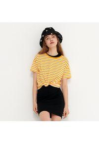 House - T-shirt w paski basic - Pomarańczowy. Kolor: pomarańczowy. Wzór: paski