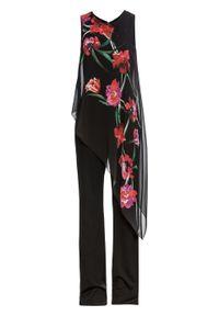 Kombinezon z szyfonową wstawką bonprix czarno-czerwony w kwiaty. Kolor: czarny. Materiał: szyfon. Długość: długie. Wzór: kwiaty