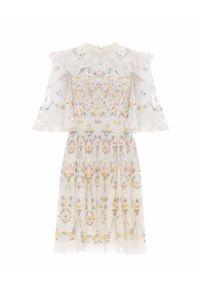 NEEDLE & THREAD - Sukienka mini Reverie. Typ kołnierza: dekolt gorset. Kolor: beżowy. Materiał: materiał. Wzór: kwiaty, haft, nadruk. Typ sukienki: rozkloszowane, gorsetowe. Długość: mini