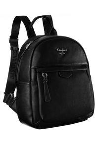 DAVID JONES - Plecak damski czarny David Jones 6612-3A BLACK. Kolor: czarny. Materiał: skóra ekologiczna