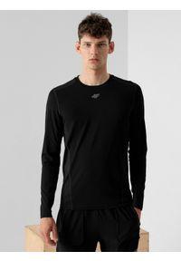 4f - Longsleeve do biegania szybkoschnący męski. Kolor: czarny. Materiał: materiał. Długość rękawa: długi rękaw. Długość: długie