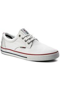 Białe półbuty Tommy Jeans casualowe, z cholewką