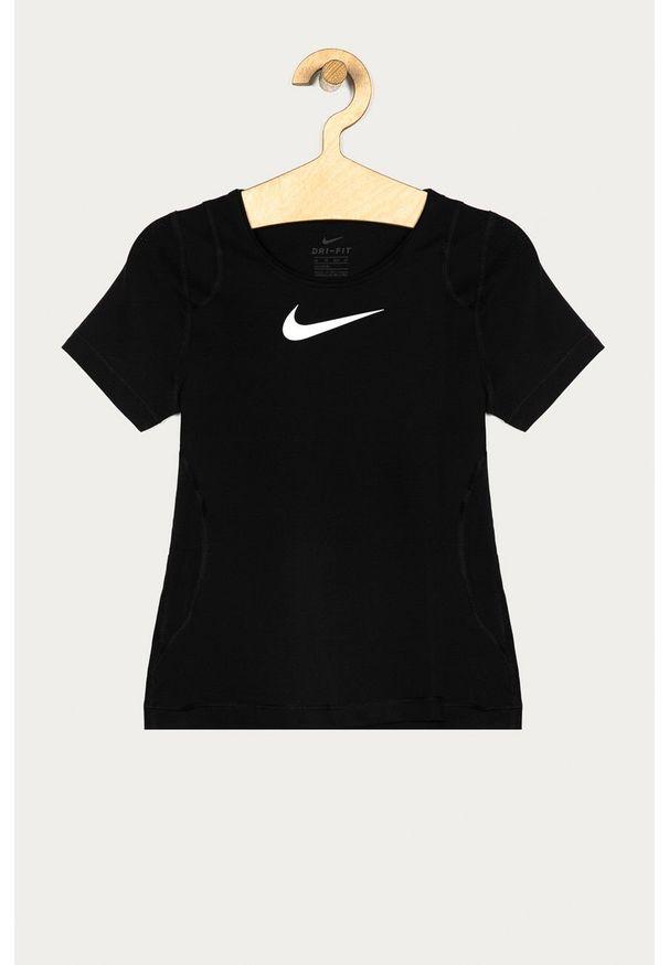 Czarna bluzka z krótkim rękawem Nike Kids z nadrukiem, z okrągłym kołnierzem, na co dzień, krótka