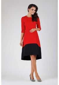 Nommo - Czerwona Wyjściowa Asymetryczna Sukienka z Kontrastowym Dołem. Kolor: czerwony. Materiał: poliester, wiskoza. Typ sukienki: asymetryczne. Styl: wizytowy
