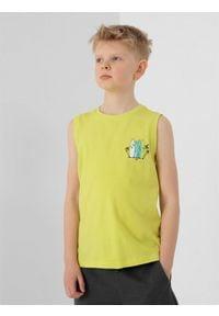 4f - Koszulka bez rękawów regular chłopięca. Kolor: żółty. Materiał: bawełna, dzianina. Długość rękawa: bez rękawów. Wzór: nadruk