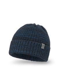 Czarna czapka męska z wywinięciem PaMaMi - Jeansowy. Kolor: czarny. Materiał: akryl