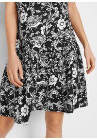 Sukienka tunikowa z nadrukiem LENZING™ ECOVERO™ bonprix czarny w kwiaty. Kolor: czarny. Materiał: materiał. Wzór: kwiaty, nadruk
