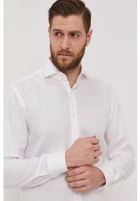BOSS - Boss - Koszula bawełniana. Typ kołnierza: kołnierzyk włoski. Kolor: biały. Materiał: bawełna. Długość rękawa: długi rękaw. Długość: długie. Wzór: gładki