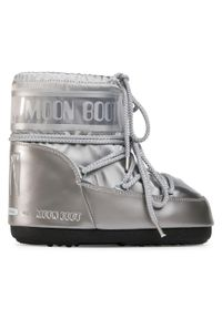 Srebrne śniegowce Moon Boot z cholewką