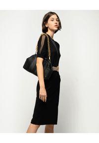 Pinko - PINKO - Czarna midi sukienka z wełny Rally. Okazja: na co dzień. Kolor: czarny. Materiał: wełna. Typ sukienki: proste. Styl: klasyczny, casual. Długość: midi