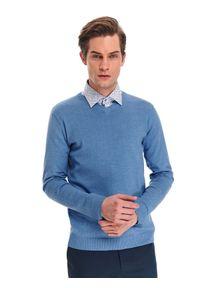 Niebieski sweter TOP SECRET w kolorowe wzory, na lato, z dekoltem w serek
