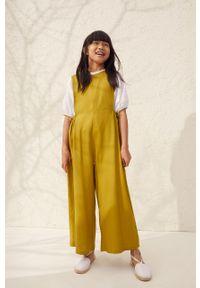 Żółty kombinezon Mango Kids bez rękawów, gładki, długi