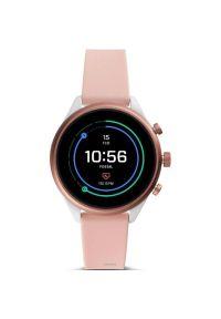 Różowy zegarek Fossil sportowy, smartwatch