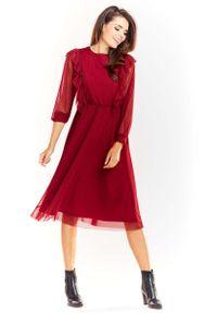 Czerwona sukienka wizytowa Awama z falbankami, midi
