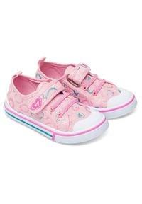 UNDERLINE - Trampki dziecięce Underline 61B1908 Różowe. Zapięcie: rzepy. Kolor: różowy. Materiał: skóra, tkanina, guma