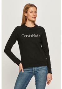 Czarna bluza Calvin Klein bez kaptura, z nadrukiem, długa