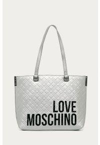 Srebrna shopperka Love Moschino na ramię, pikowana, z nadrukiem