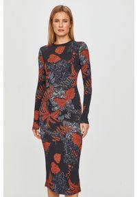 Wielokolorowa sukienka Desigual casualowa, midi, z długim rękawem, na co dzień