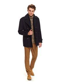 TOP SECRET - Płaszcz typu bosmanka z wełnianej tkaniny. Typ kołnierza: kołnierzyk stójkowy. Kolor: niebieski. Materiał: tkanina, wełna. Długość: długie. Sezon: zima. Styl: klasyczny, elegancki