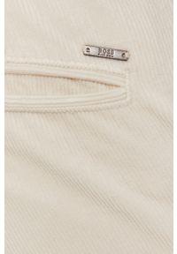 BOSS - Boss - Spodnie Boss Casual. Okazja: na co dzień. Kolor: beżowy. Materiał: tkanina. Wzór: gładki. Styl: casual