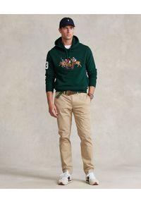Ralph Lauren - RALPH LAUREN - Zielona bluza z kapturem i haftem. Typ kołnierza: kaptur. Kolor: zielony. Materiał: bawełna, poliester. Długość rękawa: długi rękaw. Długość: długie. Wzór: haft. Styl: klasyczny