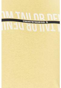 Żółty t-shirt Tom Tailor Denim z okrągłym kołnierzem, na co dzień, casualowy