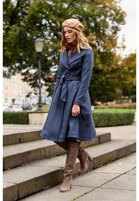 Marie Zélie - Płaszcz wełniany Achillea niebieski. Kolor: niebieski. Materiał: wełna. Wzór: motyw zwierzęcy, ze splotem. Sezon: zima #7