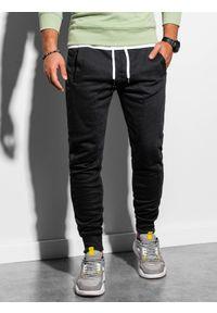 Ombre Clothing - Spodnie męskie dresowe joggery P867 - czarne - XXL. Kolor: czarny. Materiał: dresówka #6