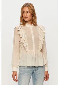 Kremowa koszula Vero Moda z długim rękawem, ze stójką, casualowa